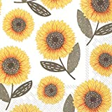 Ideal Home Range C737645 20 Count Urban Sunflower 3-Ply Paper Cocktail Napkins, Multicolor