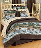River Fishing 6 Pc TWIN Comforter Set and set of Two Matching Window Valances (Comforter, 1 Flat Sheet, 1 Fitted Sheet, 1 Pillow Case, 1 Sham, 1 Bedskirt, 2 Window Valances) SAVE BIG ON BUNDLING!