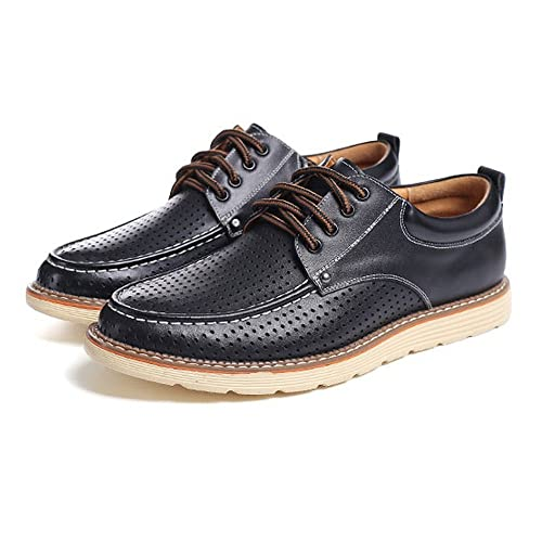 Clásico Ocasional de los Hombres Oxfords Planas Mocasines de Perforación Respirable Gentleman Fashion Business Cuero Genuino para los Hombres: Amazon.es: ...