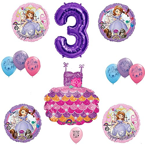 Balloons Sofia the First Happy 3rd Third Birthday Decorating Kit
