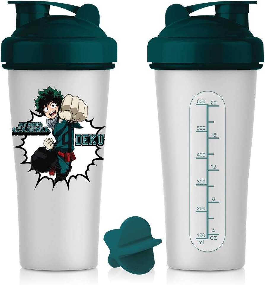 My Hero Academia Blender Shaker Bottle 20 oz Best Portable Pre Workout Whey Protein Drink Shaker Cup, Mixes Cocktails, Smoothies and Shakes, Dishwasher Safe