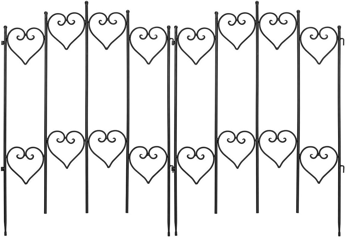 MORIGEM Decorative Garden Fence, 27in x 9ft Garden Edging Border, Rustproof Metal Fence Panels, Folding Pet Fence Barrier, Black Coated Fence for Lawn, Patio, Landscape & Flower Bed