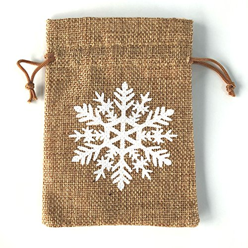 Floral Lace String (Pack of 20 Retro Linen Burlap Pouch Jute Bag Drawstring Gift Wrap - Snowflake, Love is Sweet, Floral Lace, Sewn Writing Fabric, 5.5 * 4 Inch, by OnePlace Gifts (Snowflake))