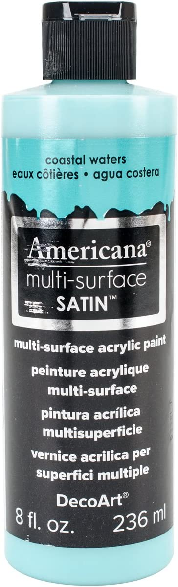 DecoArt Americana Multi-Surface Satin Acrylic Paint, 8-Ounce, Coastal Waters