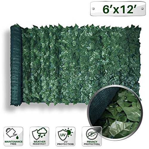 12' Faux Ivy Privacy Fence Screen Mesh Back-Artificial Leaf Vine Hedge Outdoor Decor-Garden Backyard Decoration Panels Fence Cover ()