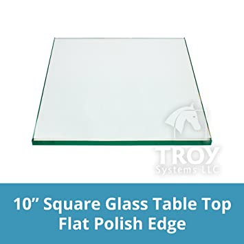 Elegant TroySys 1/4u0026quot; Thick Flat Polished Tempered Glass Table Top, Square,  10u0026quot