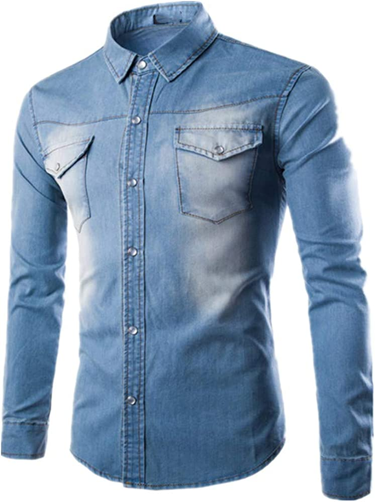 Manga larga Algodón Denim Camisa Cardigan Casual Slim Fit ...