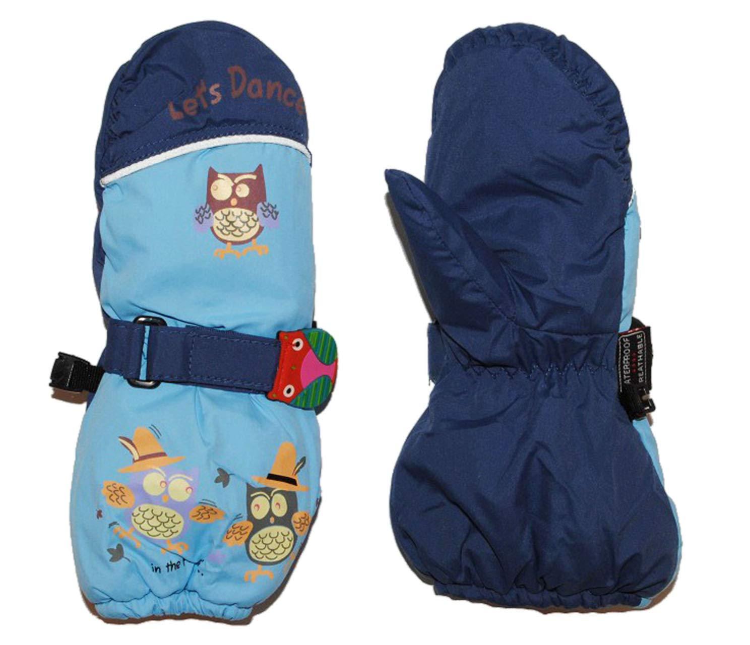 Unbekannt Handschuh mit Langem Schaft - Blau Eulen Eule Thermo gefüttert Thermohandschuh - Gr. 2 Jahre bis 3 Jahre - Fausthandschuh Handschuhe Kinder-Land