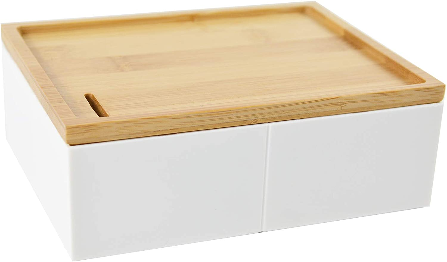 Desk Organizer Box for Coins Keys Small White Box for Drawer, Closet, Shelf, Dresser, Accessory, Storage Box with Divider and Bamboo Lid