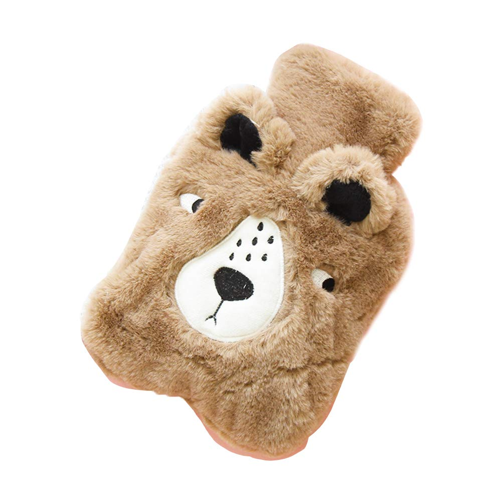 Topdo 1 Pcs Large Hot Water Bottle with Soft Fleece Cover Cute Brown Bear Printing for Women Men Girls Boys Christmas Birthday Winter Gift Size 2014cm (Brown)