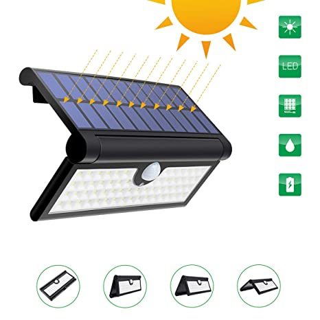 GLIME Solar Lights Garden 58 Detector de movimiento LED Waterproof IP65 Sensor Updated 120 ° Outdoor