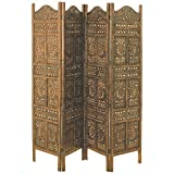 "The Global Chic Sun, Moon and Star 4 Panel Room Divider of Hand Carved Sustainable Mango Wood, 78 X ¾"" Wide X ¾"" Deep X 71"" Tall (200 Wx2d X 180h Cm) By Whole House Worlds"
