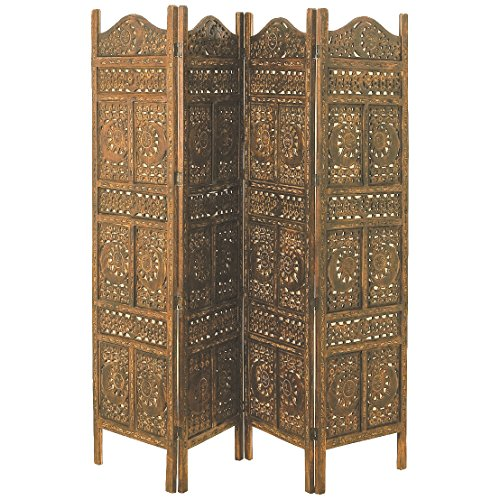 "The Global Chic Sun, Moon and Star 4 Panel Room Divider of Hand Carved Sustainable Mango Wood, 78 X ¾"" Wide X ¾"" Deep X 71"" Tall (200 Wx2d X 180h Cm) By Whole House Worlds by Whole House Worlds"