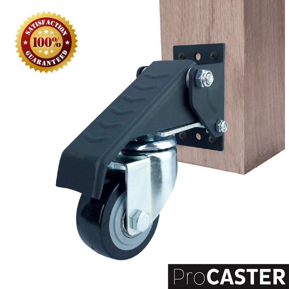 Move up to 420 lbs Easily Durable Heavy Duty Steel and Wheels Pack of 4 ProCaster Workbench Caster Kit New Version High Quality Material