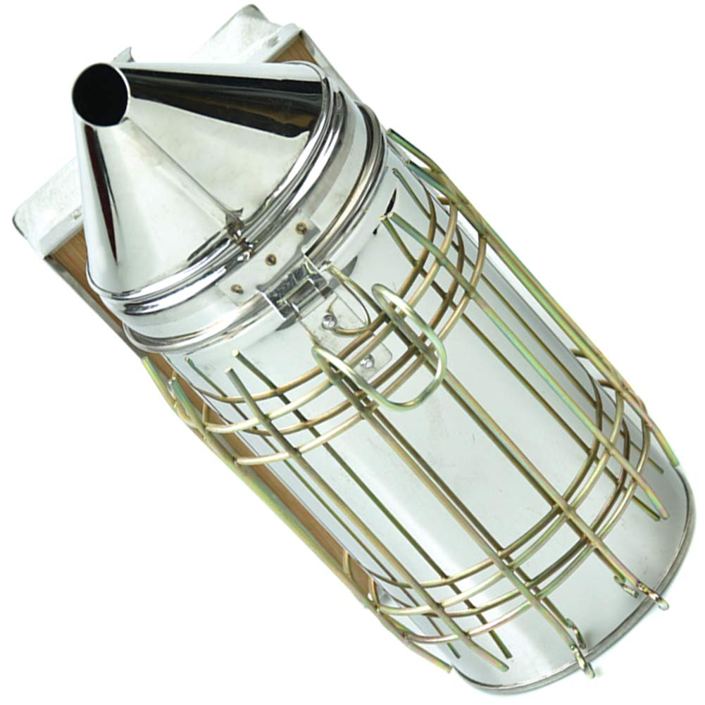 Deanyi Bee Hive Smoker Stainless Steel Bee Smoker with Heat Shield Beekeeping Beehive Equipment 1PC