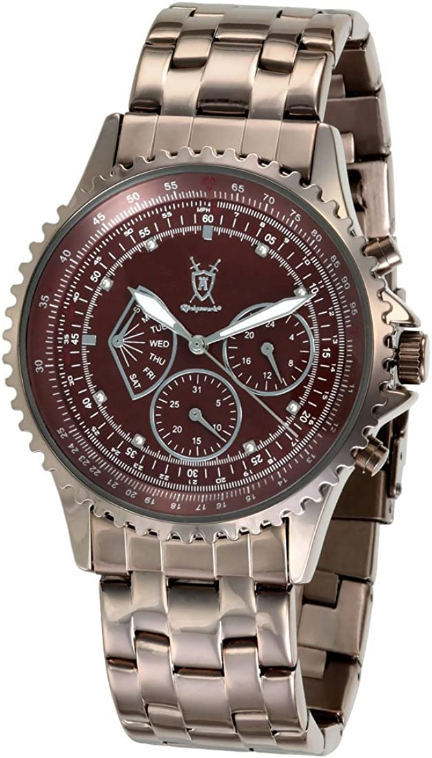 Konigswerk Mens Brown Watch Stainless Steel Bracelet Multifunction Day Date Quartz Movement Crystal Markers Reloj Marr n para Hombre SQ201464G