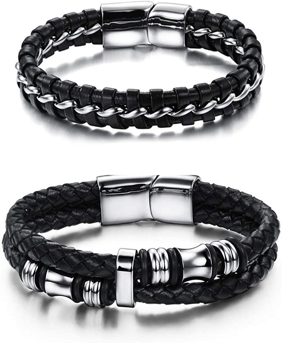 The Woo's 2Pcs Stainless Steel Braided Leather Bracelet Magnetic Clasp Braided Multi Layer Bangle Wrist Band Handmade Retro Punk Charm Stackable Layered Wrap Bracelets for Men Boyfriend Jewelry