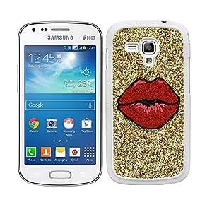 Funda carcasa para Samsung Galaxy S DUOS 2 diseño labios rojos fondo efecto purpurina borde blanco