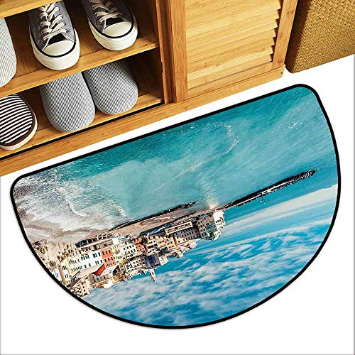 DILITECK Welcome Door mat Italy Panorama of Old Italian Fishing Village Beach in Old Province Coastal Charm Image Breathability W36 xL24 Turquoise