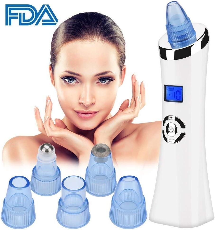 Aspirador removedor de puntos negros, removedor de puntos negros eléctrico Linstar con 6 cabezales de pantalla LED recargable por USB, limpiador facial de poros para tratamiento facial de la piel: Amazon.es: Belleza