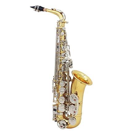 Ammoon bE Sassofono in Ottone Laccato Oro Bemolle Sax 802 Key Tipo di Strumento a Fiato in Legno con Spazzola di Pulizia Panno Guanti Cork Grease Custodia Imbottita Strap