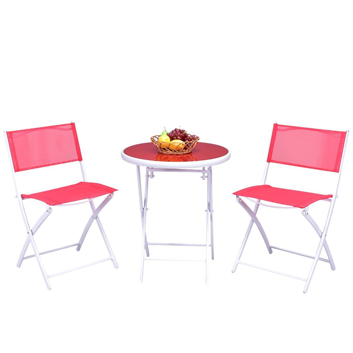 Giantex 3 PCS Folding Bistro Table Chairs Set Garden Backyard Patio Outdoor Furniture (Black) OP3355BK