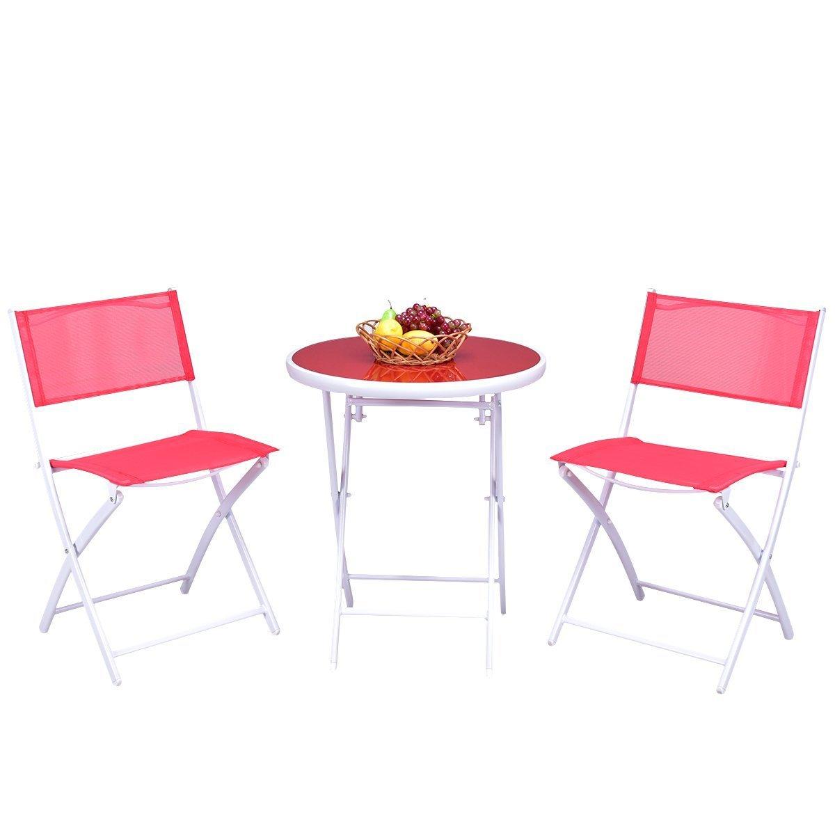 Small Folding Garden Table Side Patio Outdoor Coffee Tea Drinks Glass Furniture⭐