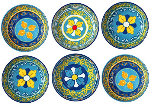 (Melange 6-Piece 100% Melamine Bowl Set (Gardens of Italy Collection ) | Shatter-Proof and Chip-Resistant Melamine Bowls)