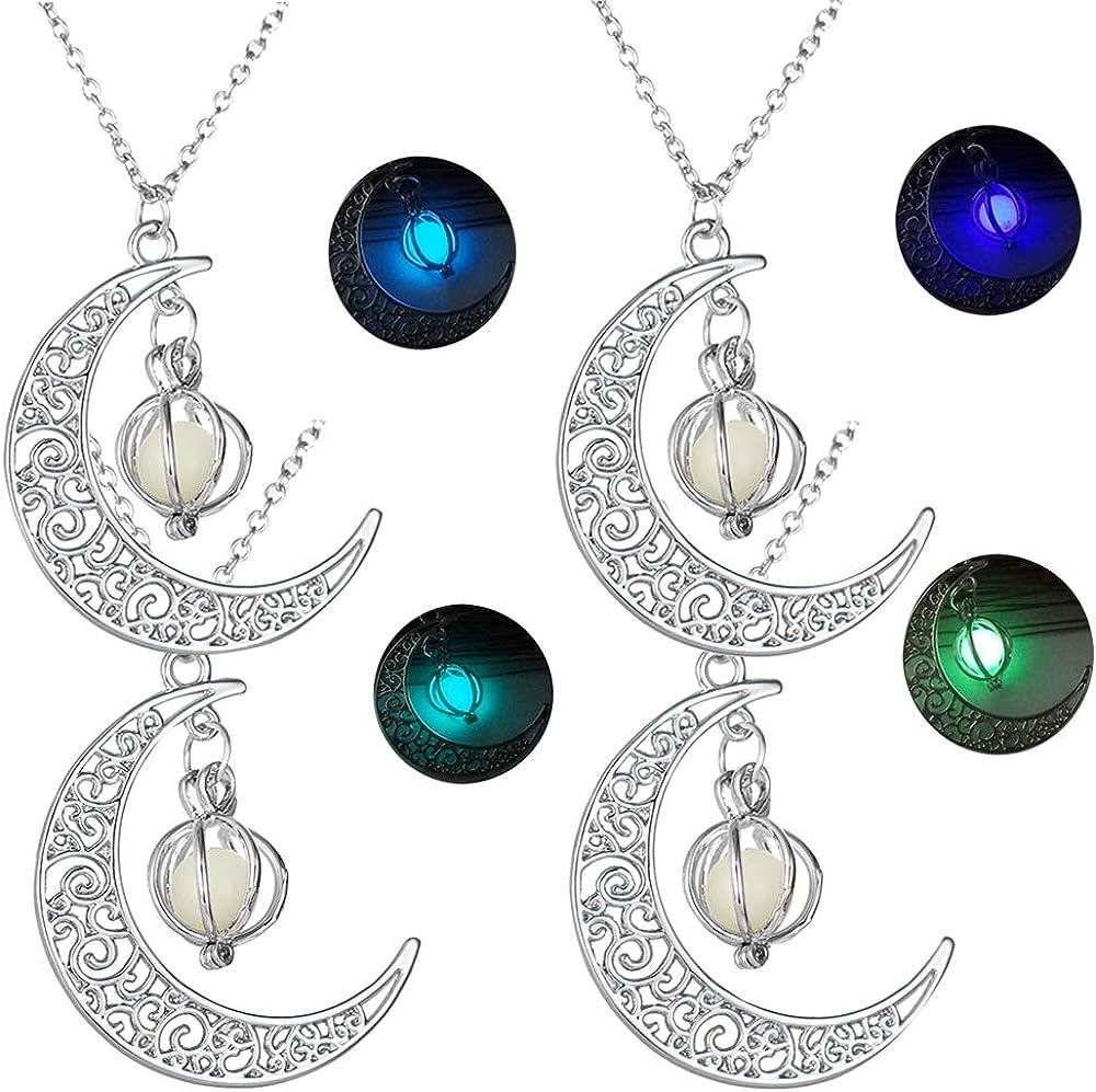 Colgantes Luminosos Colgante Collar Cadena de la Clavícula de Halloween Brillante Luna Colgante de Calabaza Resplandor en la Oscuridad Aleación Fluorescente Collar Regalo para Mujer 4 Piezas
