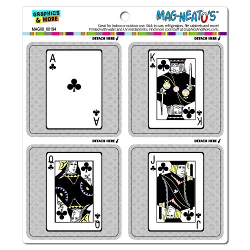 Graphics and More Playing Cards Clubs Ace Jack Queen King...