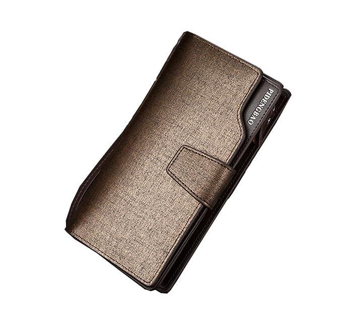 Wewod Bolso de Mano de Hombre/Bolso de Embrague Hombre/Tarjeteros para Hombre/Cartera y Monedero Hombre 19 x 10 x 0.5 cm (L * H* W) (Dorado): Amazon.es: ...