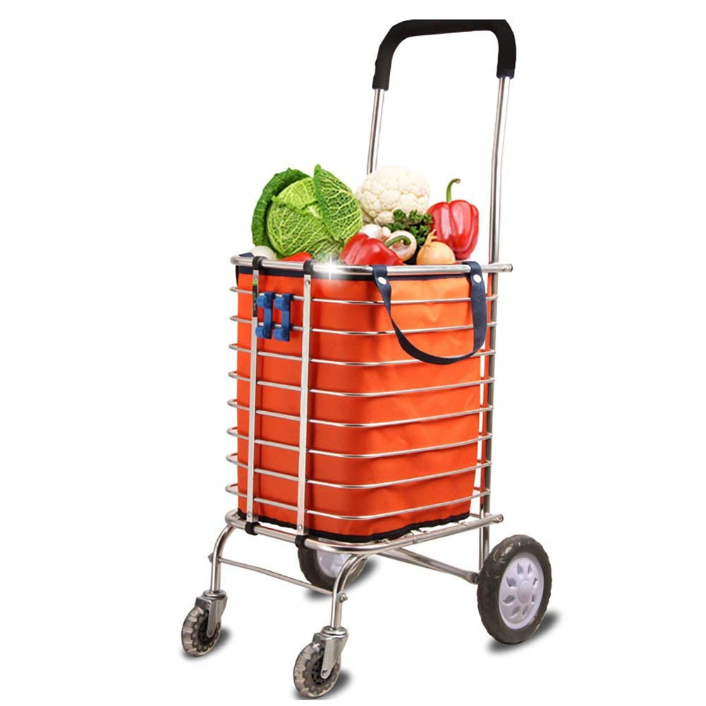 Zehaer Portable Trolley, Household Shopping Cart Shopping Cart Small Cart Folding Climbing Trolley Portable Aluminum Alloy Cart, 35l (Size : 2)