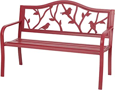 """Sophia & William Outdoor Patio Metal Bench Red, Steel Frame Bench with Backrest and Armrests for Porch, Patio, Garden, Lawn, Balcony, Backyard and Indoor, 50.4""""Wx23.5""""D x35.0""""H"""