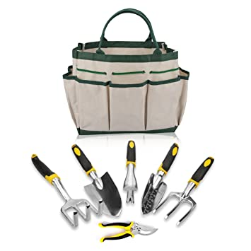 7 piezas Herramienta de jardín conjunto incluye 5 herramientas de mano w/Heavy Duty cabezales ergonómico asas y # xFF0 C; Tijeras de podar y bolsa de ...