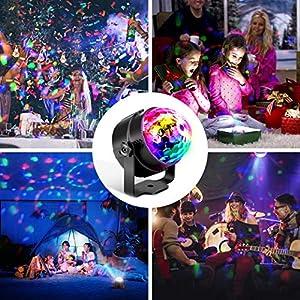 61aVhDK 7AL. SS300  - Techole-Discokugel-LED-Party-Lampe-Musikgesteuert-Disco-Lichteffekte-Discolicht-mit-4M-USB-Kabel-7-Farbe-RGB-360-Drehbares-Partylicht-mit-Fernbedienung-fr-Weihnachten-Kinder-Kinderzimmer-Party