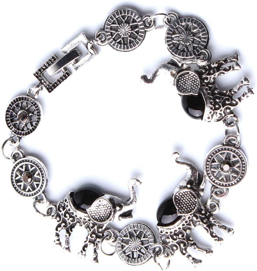 Black one Size Sevenfly Womens Vintage Ethnic Tribal Elephant Boho Pendant Necklace Drop Earrings Link Bracelet Jewelry Sets