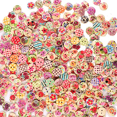 Renashed 200Pcs 15mm Mixed Color Design Wooden Buttons in Bu