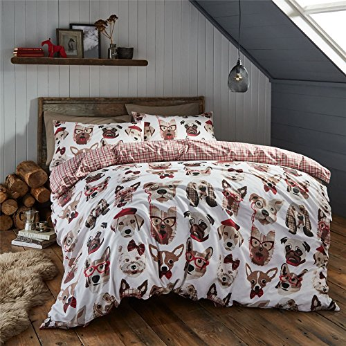- DOG BREEDS TARTAN CHECK RED BEIGE COTTON BLEND USA FULL (COMFORTER COVER 200 X 200 - UK DOUBLE) (PLAIN LATTE FITTED SHEET - 137 X 191CM + 25 - UK DOUBLE) PLAIN LATTE HOUSEWIFE PILLOWCASES 6 PIECE BEDDING SET