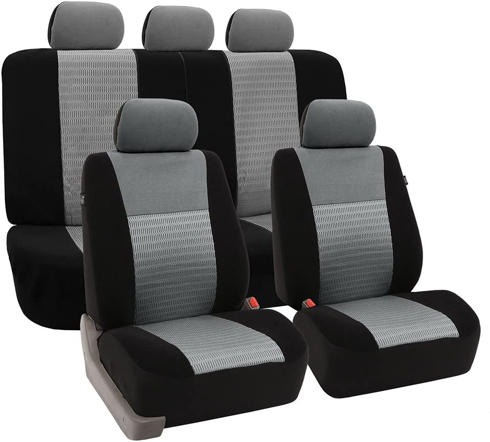 FH Group Universal Fit Full Set Trendy Elegance Car Seat Cover, (Gray/Black) (FH-FB060115, Airbag compatible and Split Bench, Fit Most Car, Truck, Suv, or Van)