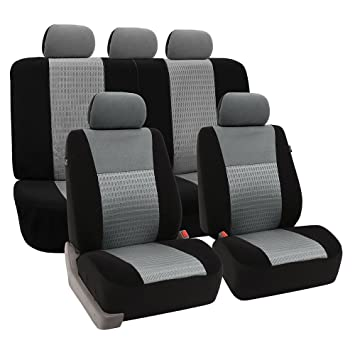 FH Group Universal Fit Full Set Trendy Elegance Car Seat Cover Gray Black