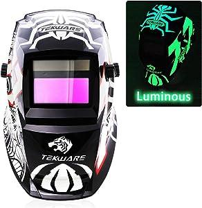 JSungo Welding Helmet Solar Powered, Luminous Auto Darkening Weld Hood with An Extra Clear Lens, Variable Shade Range 4/9-13 for TIG MIG Arc Welder Mask (Spider)