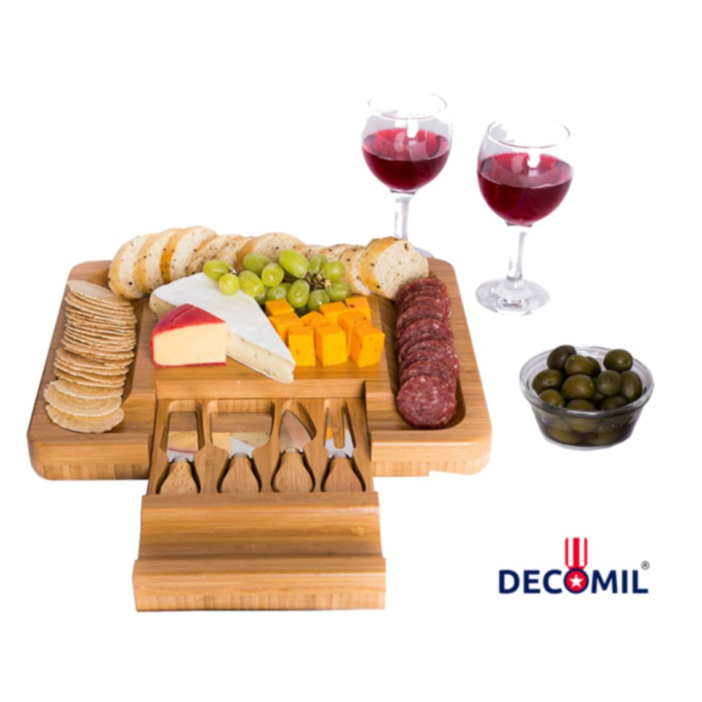 DECOMIL - Bamboo Cheese Board with Knife Set - Rectangle Wooden Server has Extra Serving on Edges for Crackers - Accessories Drawer Holds Small Cutting Knives and Spreader Tools with Wood Handle
