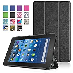 TNP New Fire 7 Case (Black) - Ultra Slim Lightweight Folding Folio Cover Stand with Hard Rubberized Back for Amazon New Fire 7 Inch (5th Generation) 2015 Release Tablet