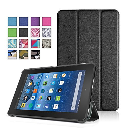 TNP New Fire 7 Case (Black) - Ultra Slim Lightweight Folding Folio Cover Stand with Hard Rubberized Back for Amazon New Fire 7 Inch (5th Generation) 2015 Release - Keyboard Mustache