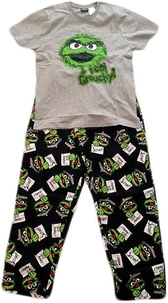 Oscar The Grouch Pajamas Mens Size Large XL Shirt Pants Sesame Street Cotton NEW