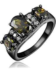 Black Color Wedding Dress Statement Ring for Women with Brown Zircon