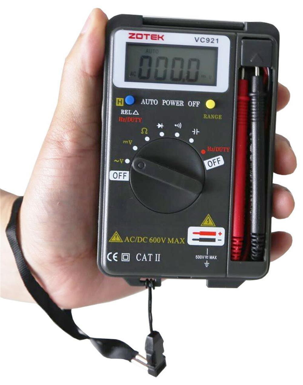 VC921 AC DC Voltage Current Resistance Backlit LCD Measuring Instrument Digital Multimeter Auto Ranging Pocket Digital Multimeter Digital Multi Tester