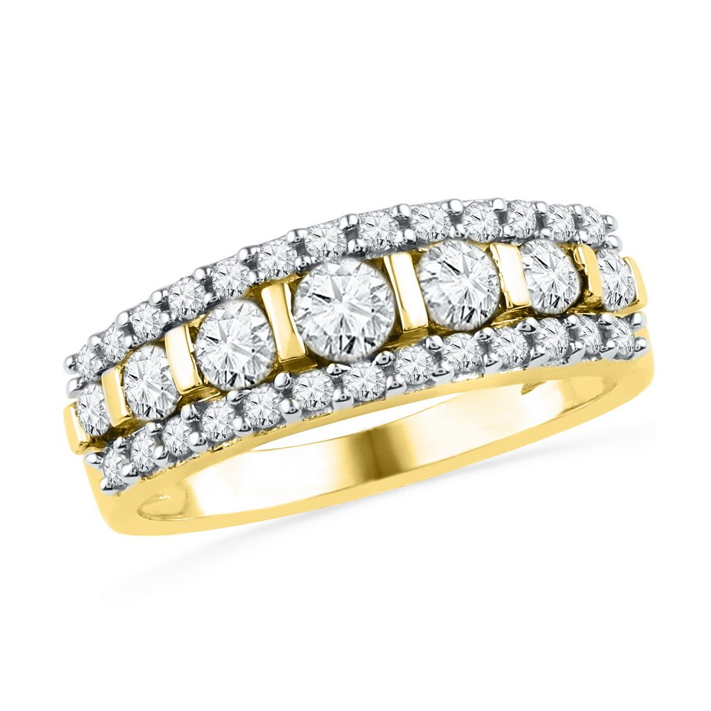 Diamond Stackable Band Solid 10k Yellow Gold Cocktail Ring Anniversary Style Bridal Fashion 1.00 ctw