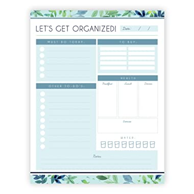 Daily Planner - 8.5x11 Inches of Undated Checklist Organizer Tear-Off Pads with Field Task Notes - for Home and Work Journal, Personal Goals, Scheduling and Planning to-Do List - 50 Sheets - Greenery