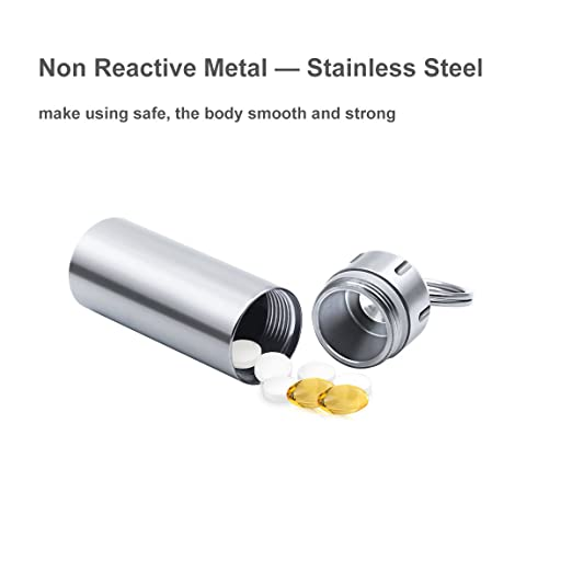 SHD Pill Box Keychain Waterproof Single Chamber Stainless Steel Pill Organizer for Outdoor Travel Camping (Silver)